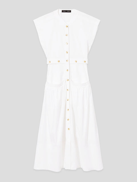 Short Sleeve Buttoned Cotton Dress