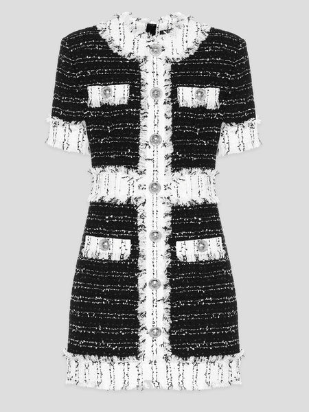 Frayed Metallic Tweed Mini Dress,Balmain,- Fivestory New York
