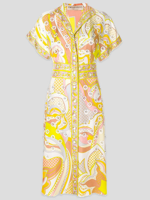 Emilio Pucci Embroidered Silk Printed Midi Dress IT42,Fivestory Pre-Loved,- Fivestory New York