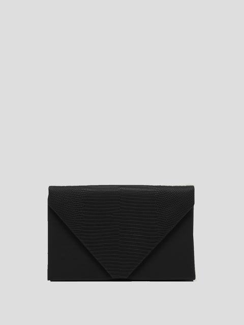 Envelope Clutch With Lizard Embellished Trim