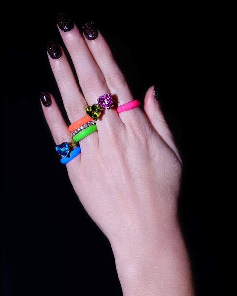 Neon Pink Thick Enamel Ring