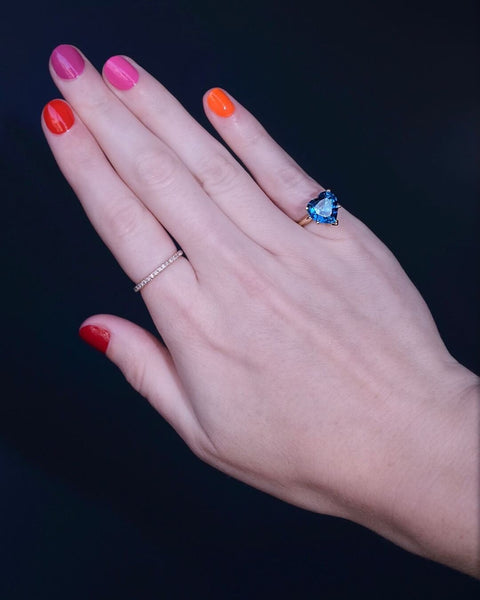 Blue Rainbow Heart Solitaire Ring