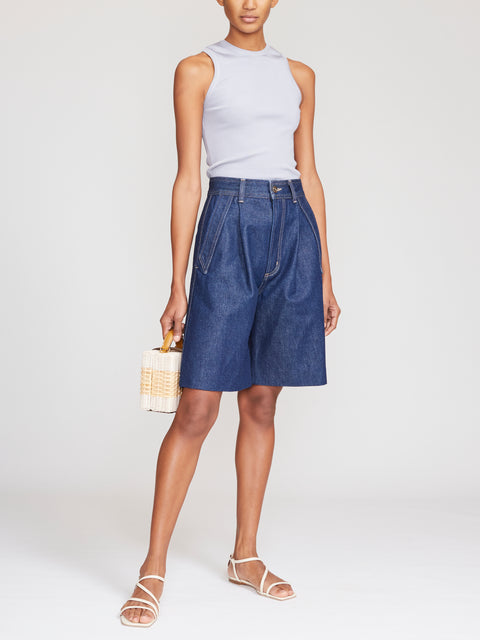 The Dark Blue Pieced Pocket Short