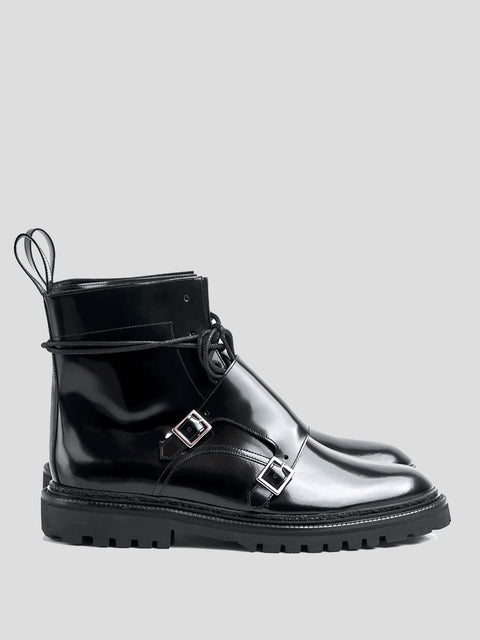 Black Patent Leather Monk Boots