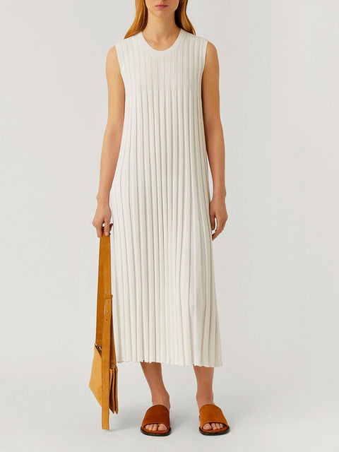 Textured Rib White Dress