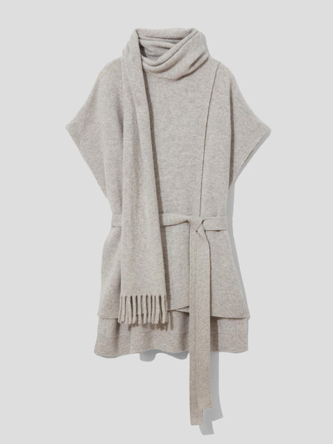 Draped Scarf Cashmere Short Sleeve Knit Pullover