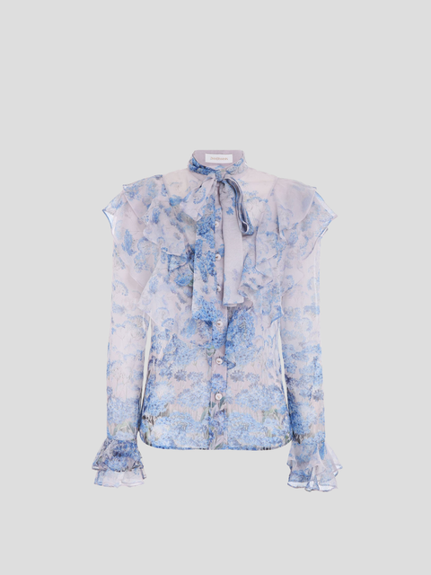 Luminous Blue and White Ruffle Blouse
