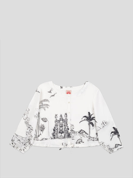 Jinny White Print Crop Top