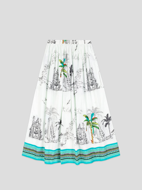 New Jane White Print Skirt