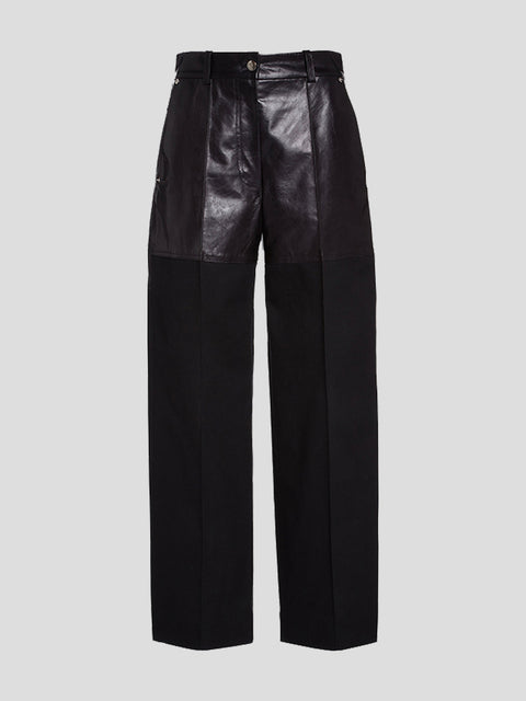 Fireman cropped paneled leather and twill straight-leg pants