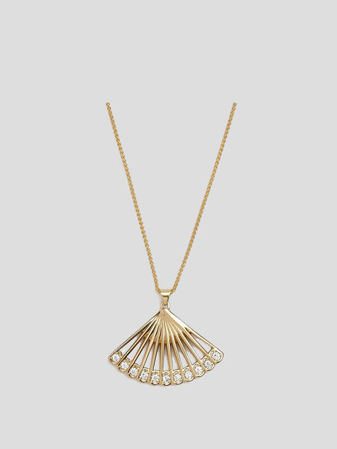 Zoe 14k Yellow Gold and Diamond Fan Necklace