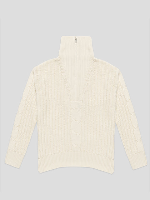 Angela Ivory Cable Halfzip Sweater