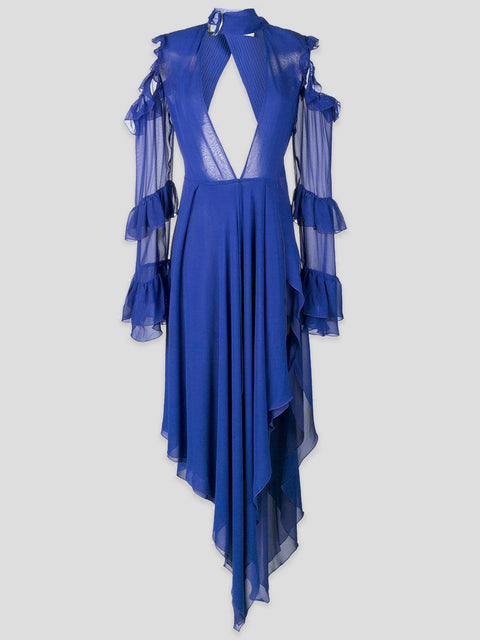 Off-White Ruffled Open-Shoulder Gown IT42,Fivestory Pre-Loved,- Fivestory New York