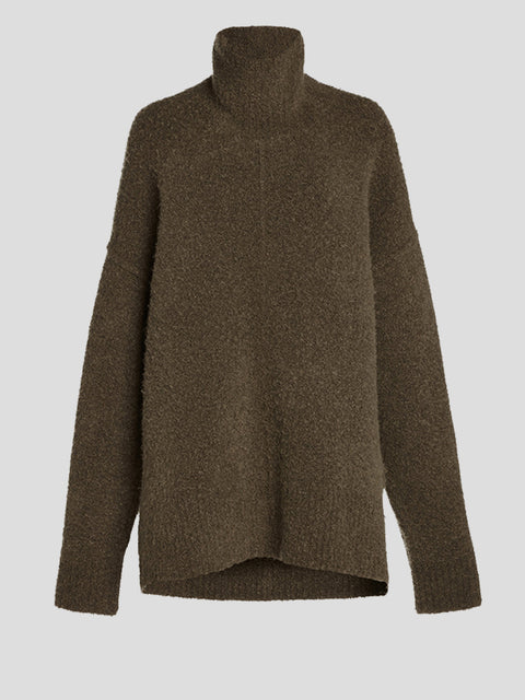 Oversized Wool-Blend Bouclé Turtleneck Sweater
