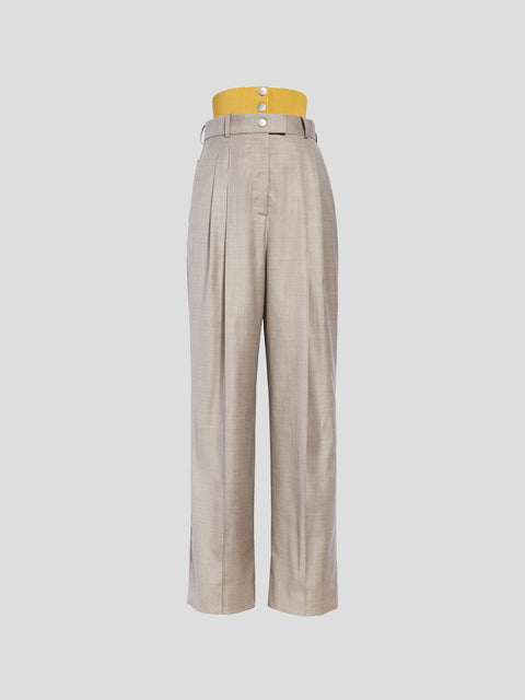Rib Combo Grey and Yellow Tailored Pant