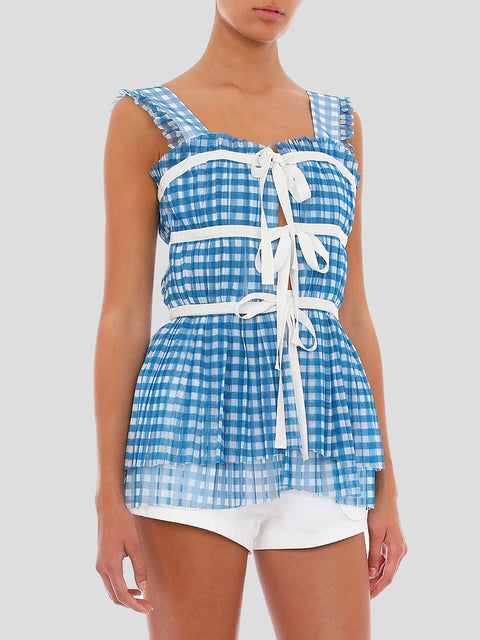 Blue and White Vichy Tulle Top