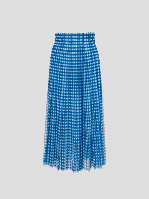 Ruched Waist Blue and White Gingham Skirt