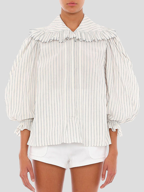 Ruffle Collar White Blouse
