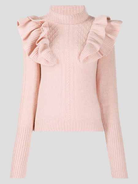 High Neck Ruffle Sweater