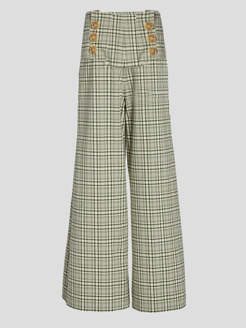 Plaid Wideleg Sailor Pants