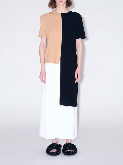 Asymmetrical Camel and Black Long Split Tshirt
