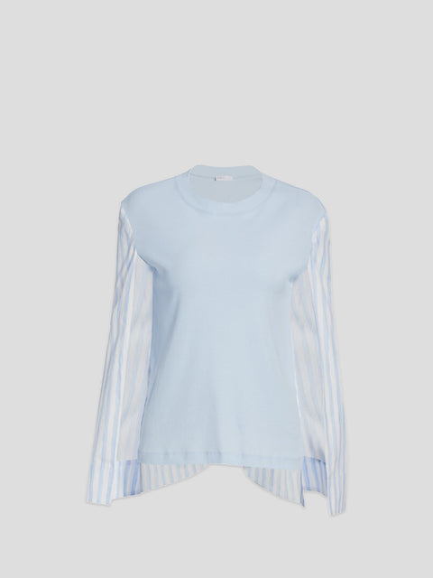 Cape Sleeve White and Baby Blue Tshirt