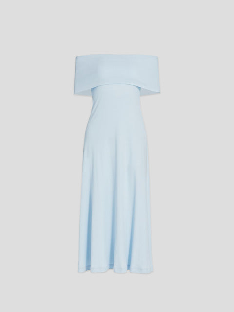 Sleeveless Band Baby Blue Midi Dress