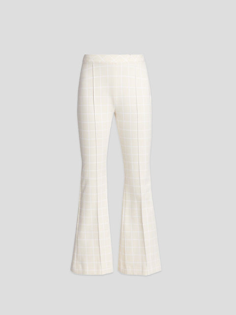 Windowpane Pull On Crop Flare Pant