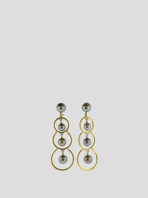 Assael Prince Dimitri Diamond Tahitian Pearl Gold Drop Earrings
