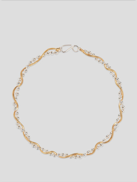Twist Gold Beaded Necklace
