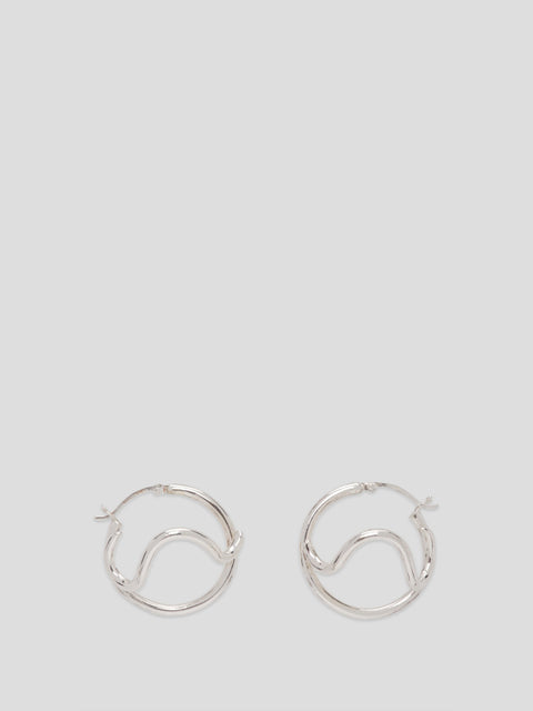 Silver Wave Small Twisted Hoop Earrings