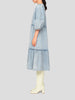 Light Blue Puff Sleeve Denim Dress
