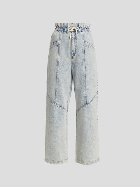 Light Blue Corded Straight Leg Jeans