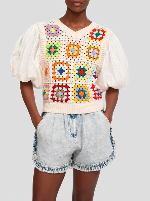 Multi Color Puff Sleeve Crochet Top