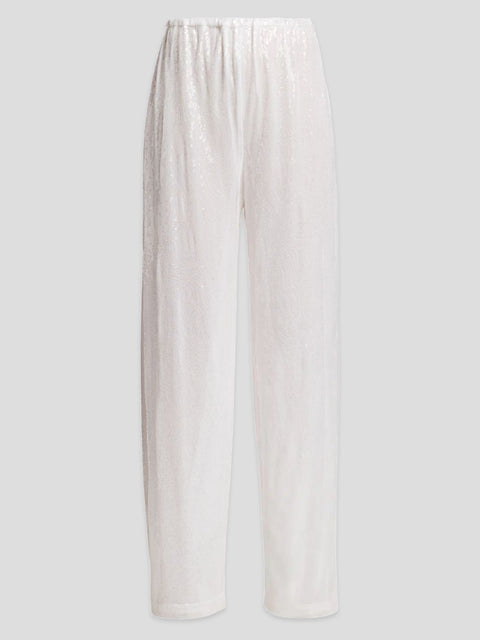 Sequin Drawstring Straight Pant