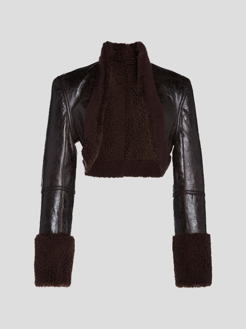 Shearling Trim Bolero Jacket