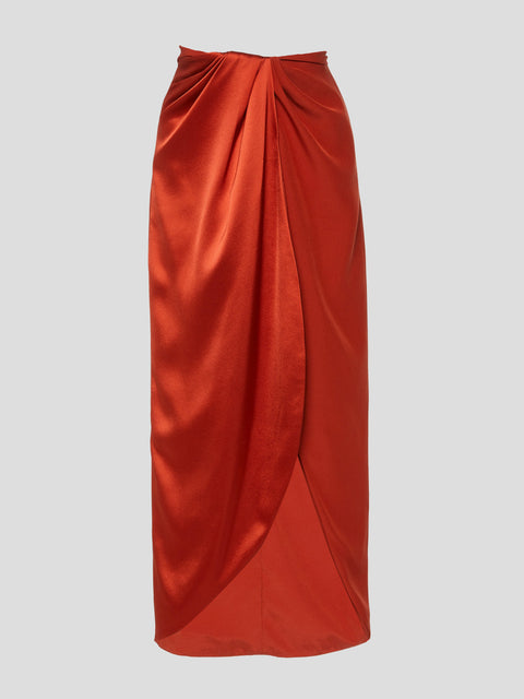 Silk Satin Wrap Skirt