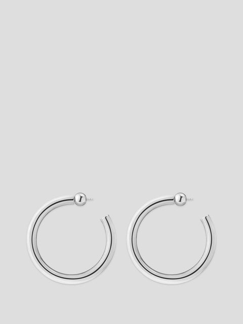 Silver Medium Everyday Hoop Earrings