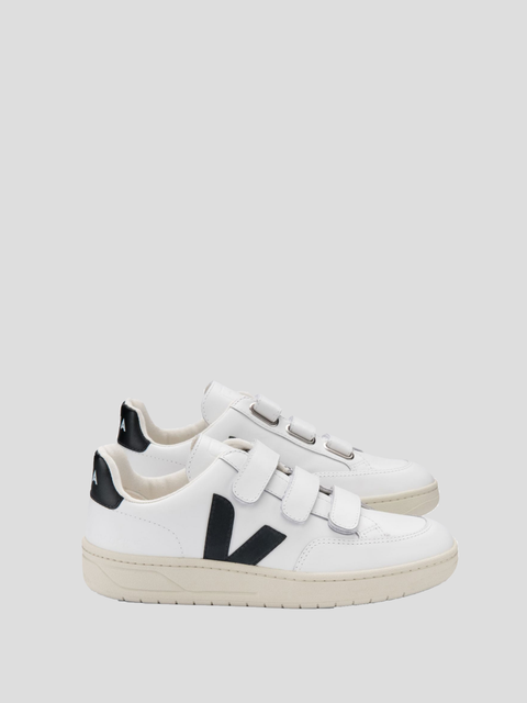 V-Lock White Black Velcro Leather Shoe
