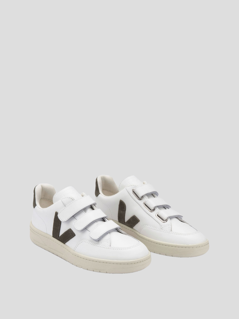 V-Lock White Khaki Velcro Leather Shoe