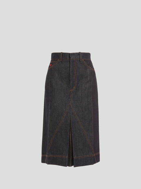 Raw Denim Pleat Detail Mid Length Skirt