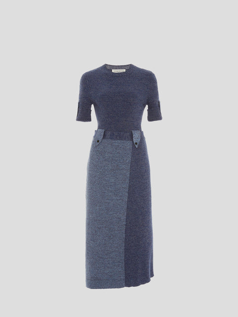 Denim Blue Utilitarian Knit Dress