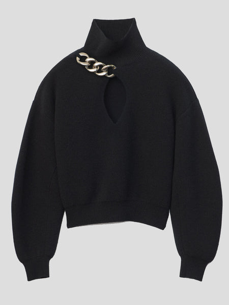 Turtleneck Keyhole Sweater With Chain