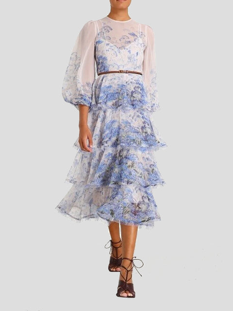 Luminous Frayed Blue and White Midi Dress