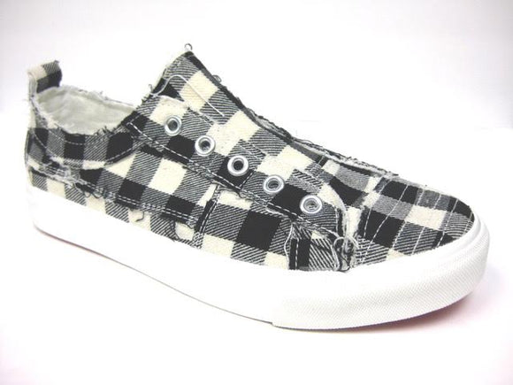 Corkys Women's Babalu Casual Slip On Sneaker White Plaid 51-0121