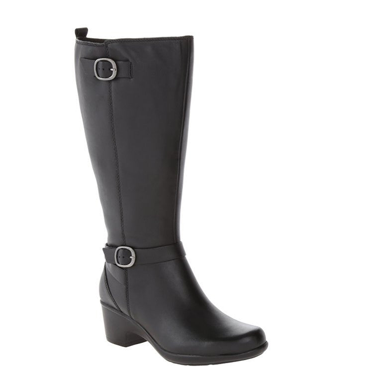 Clarks Women's Malia Poplar Extended Calf Riding Boot Black Leather 02069