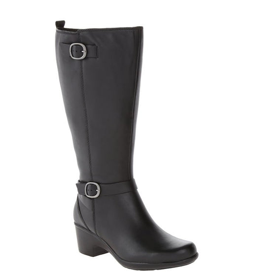 Clarks Women's Malia Poplar Extended Calf Riding Boot - Black Leather 02069 - ShoeShackOnline