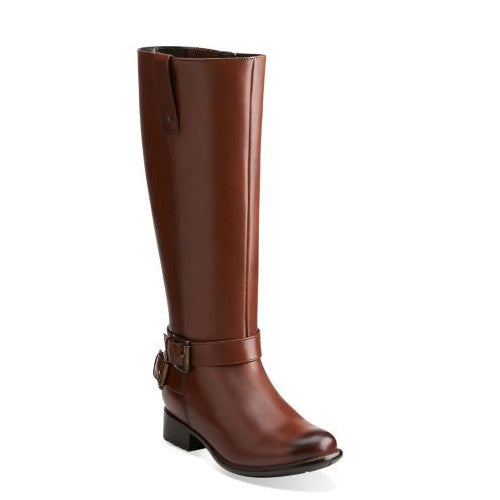 Clarks Women's Plaza Steer Boot - Brown Leather 04788 - ShoeShackOnline
