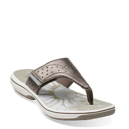 Clarks Women's Brinkley Star Slide Sandal - Pewter 08068 - ShoeShackOnline