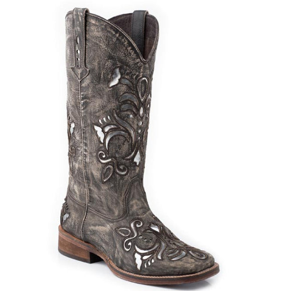 Roper Women's Distressed Scroll Underlay Western Boot - Brown 09-021-0901-0671